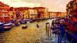 Romantic scenery of Venice, Italy. Computer painting.