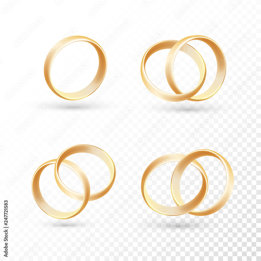 Fototapety, obrazy: Wedding ring set of gold metal on transparent background.