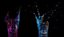 Colorful Cocktails In Glass With Splashes On Dark Background. Party Club Entertainment. Mixed Light