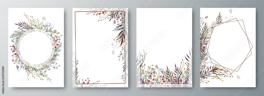 Fototapeta Set of four invitation or greeting card design decorated with flowers.