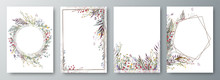 Set Of Four Invitation Or Greeting Card Design Decorated With Flowers.