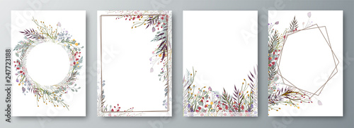 Fototapeta Set of four invitation or greeting card design decorated with flowers. obraz