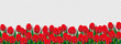 Red tulip flowers decorated transparent background, advertising header or banner design.