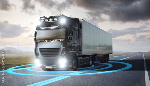 Ciężarówka z ilustrowanymi czujnikami na autostradzie