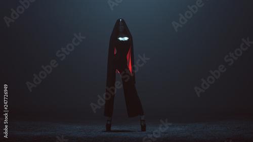 Fototapeta  Futuristic Demon Assassin in a Corset and Pant Suit with a Veil 3d illustration