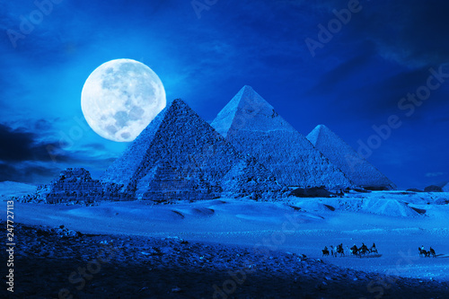 Canvas Prints Fantasy Landscape pyramids giza cairo egypt moonlit phantasy