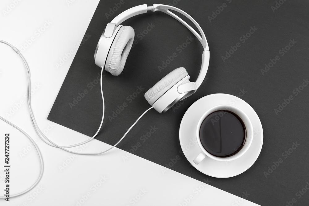 Fototapeta Black and white composition with stylish headphones, flat lay - obraz na płótnie