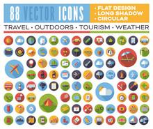 Set Of 88 Flat Design Long Sha...