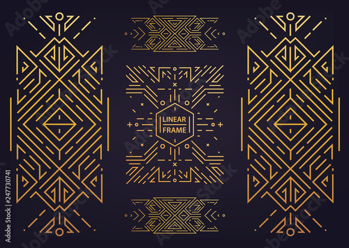 Photo  Set of vector Art deco golden borders, frames