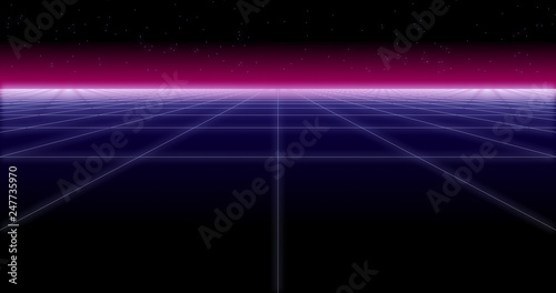 Photo sur Aluminium Abstract wave synthwave net and stars Retro Background 3d render