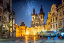 Old Town Square At Night In Prague With Stars Sky