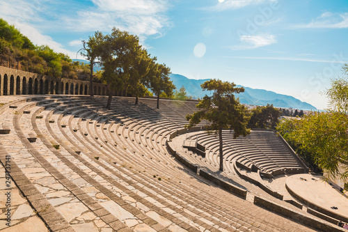 Panoramic view of old amphitheater in Marmaris Town. Reconstructed open-air stone theater. Marmaris is popular tourist destination in Turkey