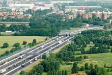 Paesaggio Pianura Padana Con Autostrada