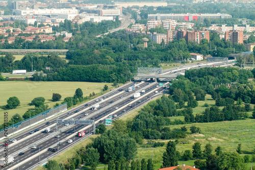 Paesaggio pianura padana con autostrada Canvas Print