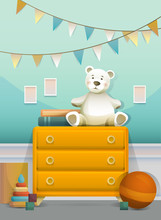 Baby Room With Orange Chest And Toy