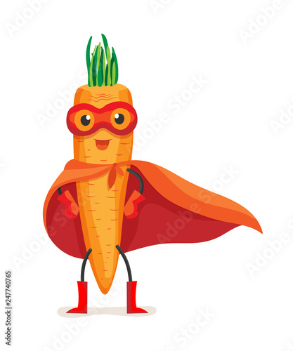 Cute food carrot in cloak of superhero and mask.