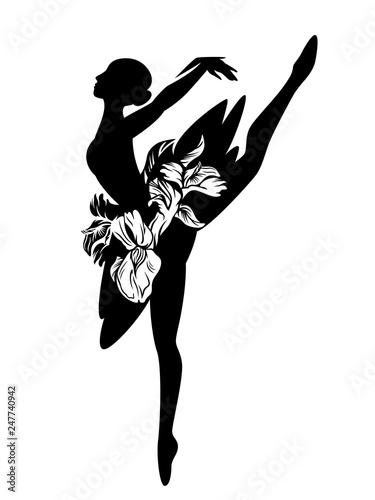 graceful ballerina girl with iris flowers tutu - standing ballet dancer black ve Fototapeta