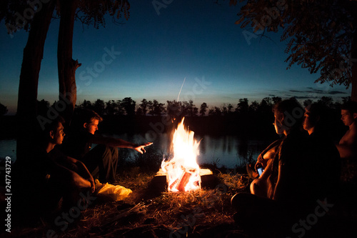 Canvas Prints Camping fire in the forest