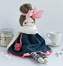 Handmade Rag Doll With Pale Cute Pink Bow, Wearing Navy Dress And White Scarf