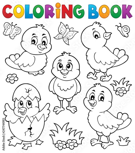 Foto op Aluminium Voor kinderen Coloring book cute chickens topic set 1