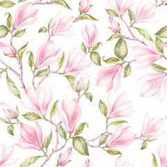 FototapetaSeamless pattern of magnoliaVintage bouquet of blooming roses. Watercolor botanical illustration of a spring flowers. Postcard for congratulations, wedding or invitation. Textile design of flowers.