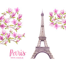 Eiffel Tower With Spring Flowe...