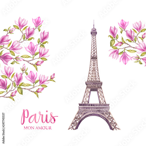 Eiffel tower with spring flowers.