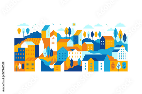Foto auf Acrylglas Weiß Vector illustration in simple minimal geometric flat style - city landscape with buildings, hills and trees
