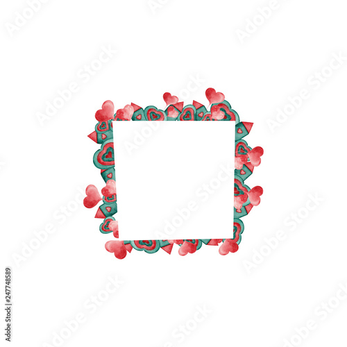 Stickers pour porte Pierre, Sable frame with hearts