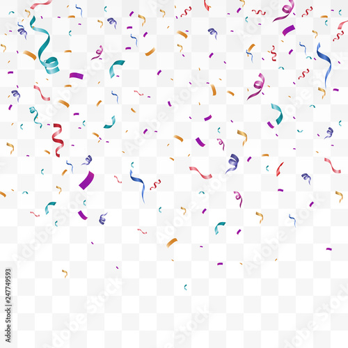 Obraz Lots of colorful tiny confetti and ribbons on transparent background. Festive event and party. Multicolor background.Colorful bright confetti isolated on transparent background - fototapety do salonu