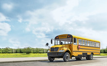 School Bus Driving On The Country Road, Going To School, Beautiful Sunny Day, 3d Rendering