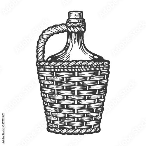 Valokuvatapetti Wine bottle carboy with basket and handle weaving engraving vector illustration