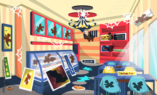 Dirty Bakery Shop Room With Cake On Etalase Ceiling Lamps Blue Table Artistic Wall Picture Modern Style For Vector Restaurant Interior Ideas Buy This Stock Vector And Explore Similar Vectors At