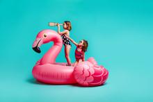 Girls Having Fun Imagining Playing In Pool