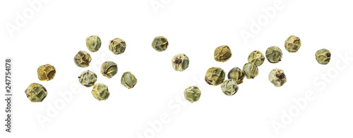 Fototapeta Green peppercorns isolated on white background, macro obraz