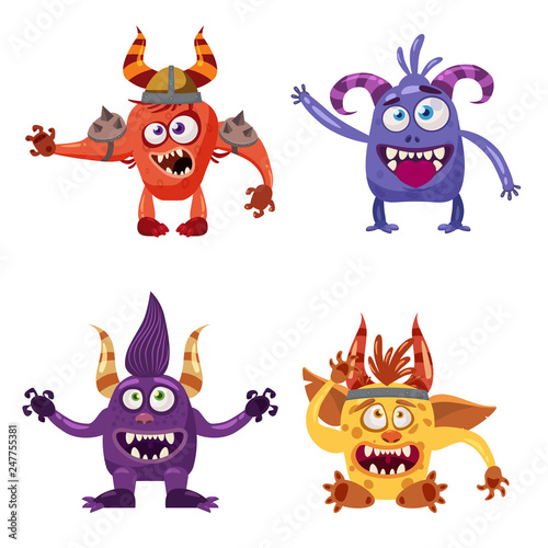 Set of cute funny characters troll, goblin, yeti, imp, with different emotions, фототапет
