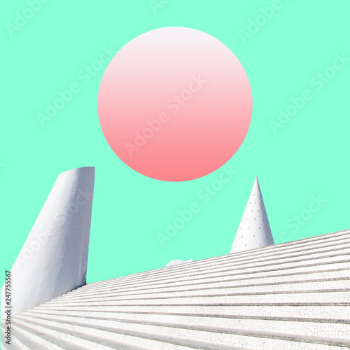 Stickers pour portes Vert corail surreal landscape collage concept, contemporary and futuristic palstel colors, social network mood