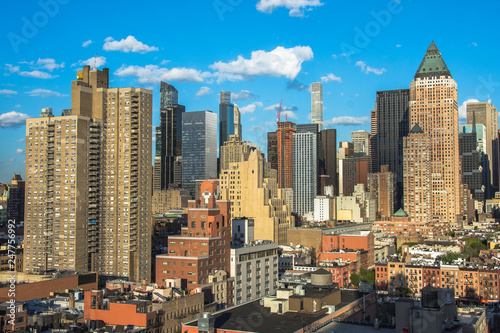 New York City. Wonderful panoramic aerial view of Manhattan Midtown Skyscrapers.