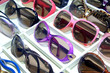 Color frame sunglasses on the shelf