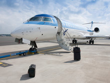 Suitcases Outside Private Jet