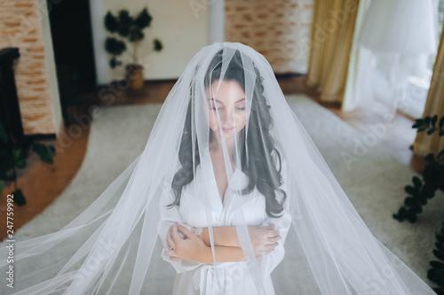 Fotografia A beautiful bride is standing under a veil