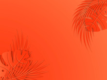 Tropical And Palm Leaves On Living Coral Background. Minimalistic Summer Background, Banner, Wallpaper. 3D Vector Illustration. Paper Cut Out Art Style.