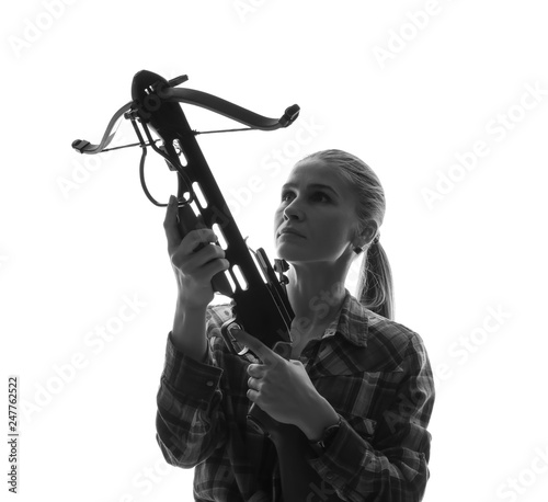 Canvas Portrait of beautiful woman with crossbow on white background