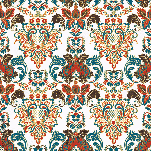 Deurstickers Marokkaanse Tegels Vintage floral seamless patten. Classic Baroque wallpaper. seamless vector background