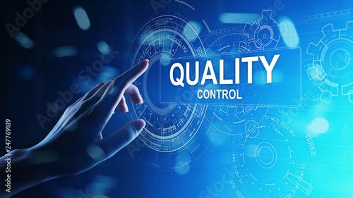 Obraz Quality control, assurance, industry standards concept on virtual screen. - fototapety do salonu