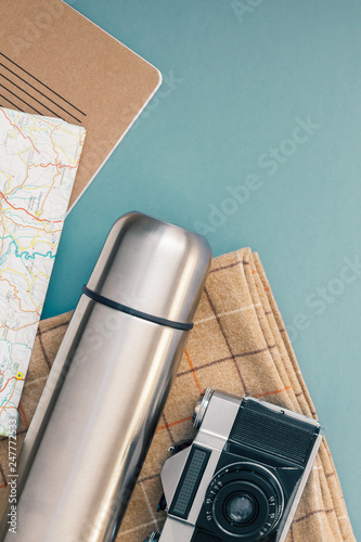 Photo Concept flat lay outdoors tourism weekend