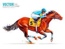Jockey On Racing Horse. Derby....