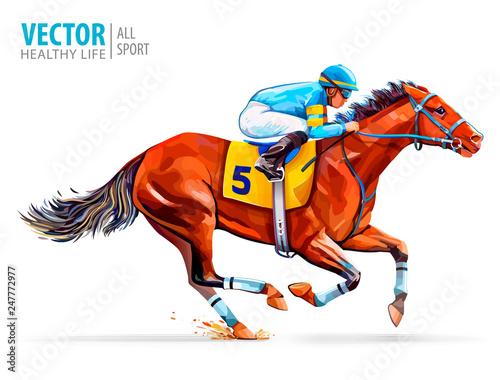 Slika na platnu Jockey on racing horse