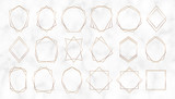 Gold geometric polygonal frames. Decorative lines borders. Luxury design elements for wedding invitation, blog posts, banner, celebration, card, save the date, poster, flyer
