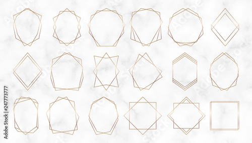 Gold geometric polygonal frames. Decorative lines borders. Luxury design elements for wedding invitation, blog posts, banner, celebration, card, save the date, poster, flyer - 247773777